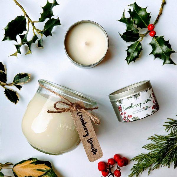 cranberry wreath eco christmas candle tin