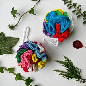 Crocheted cotton rainbow bath poufs