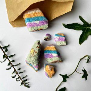 Vegan rainbow bath bomb rocks