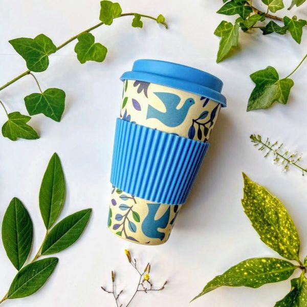 Bamboo travel mug doves