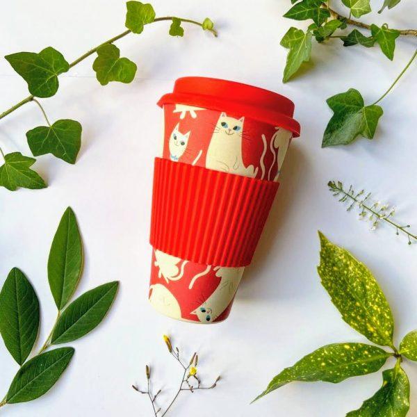 Red cartoon cats bamboo travel mug