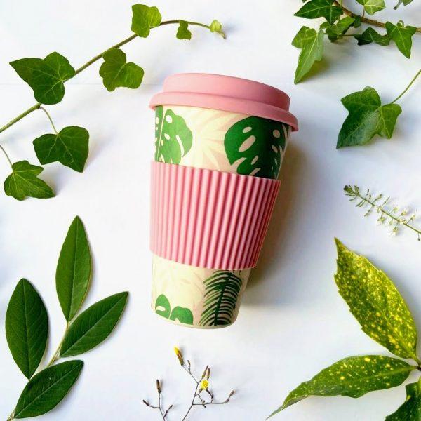 Palms bamboo travel mug