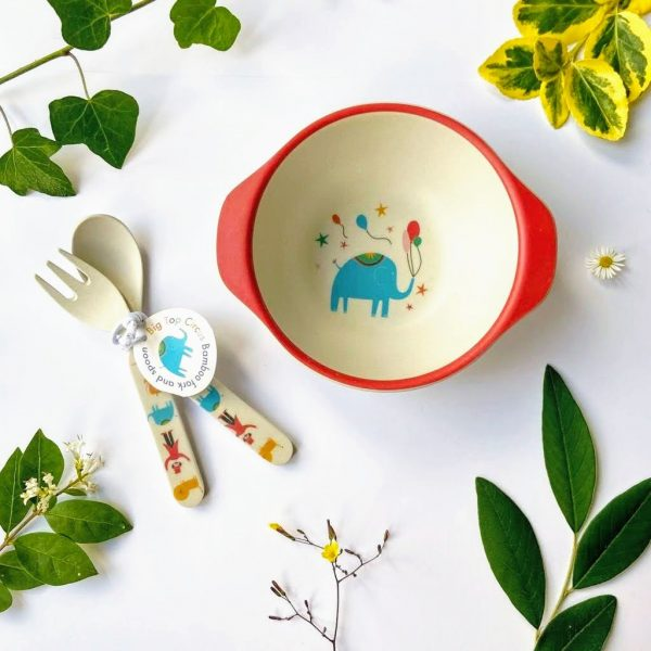 circus bamboo bowl and cutlery for kids