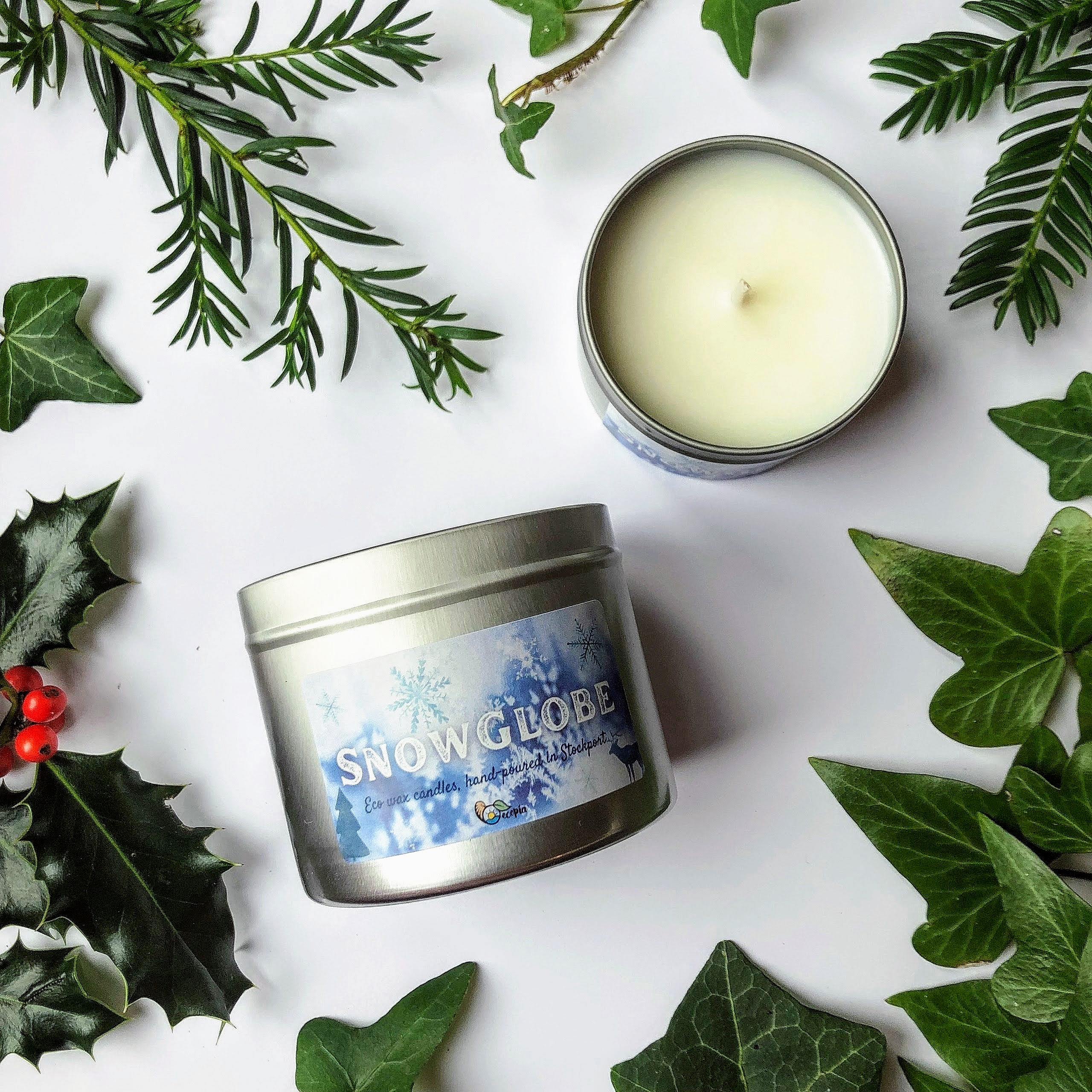 Snow Globe Christmas candle made in Stockport with eco coconut wax